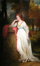 Stunning Oil painting George Romney - Lady Mary Beauchamp-Procter in forest view