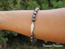 Black 'Peacock' Cultured Freshwater Pearl Bracelet 6-7mm 925 SOLID Silver