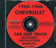 Chevy Accessory Installation Manual on CD 1960 1961 1962 1963 1964 1965 1966