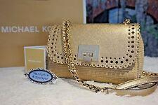 NWT Michael Kors VIOLET VIVIAN Shoulder Flap Leather Bag NATURAL/PALE GOLD $348