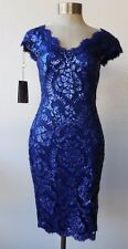 Tadashi Shoji Mystic Blue Sequin Lace V-Neck Cap Sleeve Sheath Dress 2 NWT $318