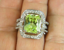 RING:  SIZE 7, FLASHY GREEN AMETHYST E-CUT (14X1MM) WH TOPAZ 925 STERLING SILVER