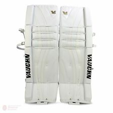 "New Vaughn 1000i V6 Int ice hockey goal leg pads 28""+2 All White Velocity goalie"