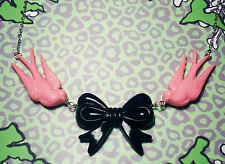 PINK SWALLOWS BLACK BOW NECKLACE ROCKABILLY