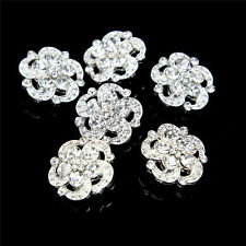 Promotion! Lot 6 Silver Gold Plated Crystal Diamante Rhinestone Shank Buttons