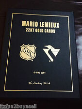 2001 MARIO LEMIEUX ROOKIE AND CAREER CARDS 22 KT GOLD SET UDA DANBURY MINT
