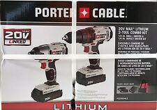 PORTER CABLE 20V Max Lithium Ion 2 Tool Combo Kit Drill Driver Power Toll Work