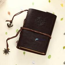 Retro Vintage Leather Bound Blank Page Notebook Note Notepad Journal Diary E UP