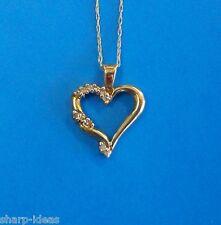 "Genuine Diamond Heart Pendant w/ 11 Diamonds - 10K Yellow Gold - 18"" Chain"