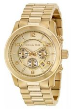 Michael Kors Gold Runway Oversized Unisex Chrono Watch 45mm MK8077 $275