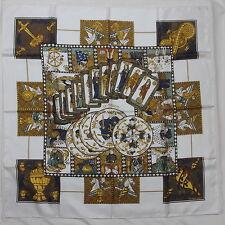 """Auth HERMES """"Le Tarot"""" by Annie Faivre Ivory Silk Scarf 2214"""