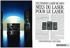 Publicité Advertising 1986 (2 pages) Les Chaines Hi-Fi Laser de Sony