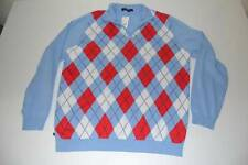 BROOKS BROTHERS FLEECE BLUE RED ARGYLE PLAID HALF ZIP SWEATER YOUTH BOYS SIZE XL