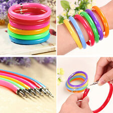 10pc Novelty Wristband Bangle Bracelet Ballpoint Office Stationery Writing Pen H