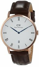 Daniel Wellington 1102DW Dapper York Rose Gold Tone Dark Brown Leather Watch
