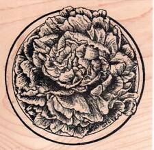 New NORTHWOODS RUBBER STAMP Peony blossom in Circle Flower Spring Free usa ship