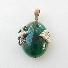 Pendientes de plata esterlina colgante de jade & Hoja De Rana caracteriza
