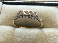 Stunning Ladies Stamped Antique 18ct Gold & Platinum Three Stone Diamond Ring M