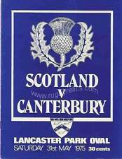 Canterbury V Écosse 31 mai 1975 Christchurch rugby programme