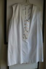 Prada size 44 white cotton twill zip dress or tunic s/l gold tone grommets
