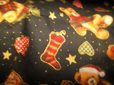 100% teddybears and stocking christmas  fabric PRICE PER 1/2 yard 132cm wide