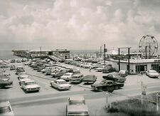 Surf Side Pier 1968 Parking Lot of Vintage cars Sepia 8 x 10 Photograph