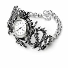 Alchemy Gothic Chinese Imperial Dragon Victorian Pewter Bracelet Quartz Watch