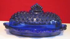 COBALT BLUE COVERED BUTTER DISH HOBNAIL OVAL L.E. SMITH SIGNED RARE