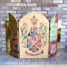 3 Panel Fire Screen / Fireplace Spark Screen with Medieval Knight & Coat of Arms