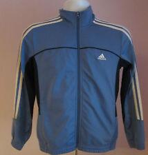 Vintage Retro para hombre Adidas Azul Claro/Azul Oscuro axilas pista Traje De Deporte Top Talla XS