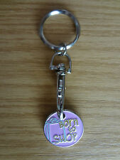 Trolley Token Keyring Born to Shop (pale pink background)