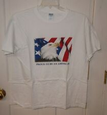 "M&O Knits ""Proud To Be An American"" American Eagle & Flag White T-Shirt - L"