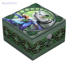 """Anne Stokes Trinket Jewellery Box with Mirror: """"Realm of Enchantment"""" Fairy"""
