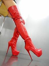 MORI ITALY ZIP NEW OVERKNEE PLATFORM BOOTS STIEFEL STIVALI LEATHER RED ROSSO 44