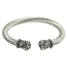 Crystal Tip Bracelet Twisted Metal Cuff Silver Gray Pave Stone Chunky Cable