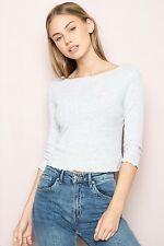 Brandy melville heather gray ruffled trimmed Boatneck Clarissa crop top