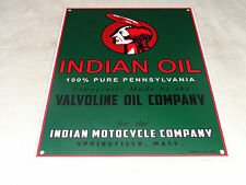 """VINTAGE INDIAN MOTORCYCLE COMPANY MADE BY VALVOLINE 15.5"""" PORCELAIN GAS OIL SIGN"""