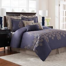 Bridge Street QUEEN Wakefield Comforter Set; 3pcs; blue with taupe embroidery