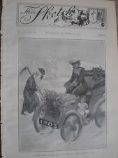 Father Time takes off his hat to the Sketch Girl 1902 old print ref W2