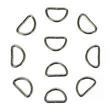 10 x D Rings for Keys / Pets / Handbags / Bags / Straps / Webbing / Repair etc