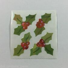 Vtg Rare Sandylion Holiday HOLLY Mother of Pearl Pearly Sticker Dated 1989