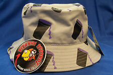 Purple Drank Printed Gray Full-Brim Bucket Hat ONE SIZE Piranha Records
