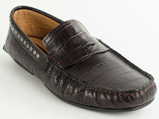 New  Cesare Paciotti Croc-Embossed   Brown   leather moccasins UK 7 US 8