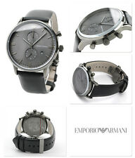 NIB Emporio Armani Chronograph Gray Face Black Leather Strap Mens Watch AR0388