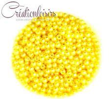 Lot de 100 Perles ronde nacré acrylique jaune 4 mm