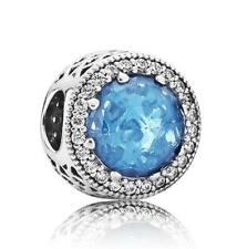 Silver Authentic Pandora GENUINE Radiant Hearts Sky Blue Crystal 791725NBS 925