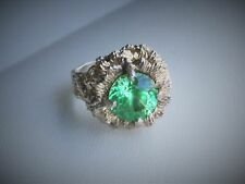 Vintage RH Gold Clad Sterling Silver Green Focal Flower Band Ring, Size 5 1/2