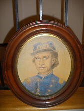 Antique 19th pastel portrait Civil War Union Officer in uniform kepi US Insignia