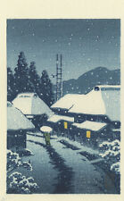 HASUI Japanese Woodblock Print SNOWY VILLAGE 1930