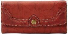 Frye DB893 Campus Large Leather Wallet Clutch (Burnt Red)